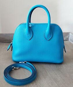 Hermes NEW Mini Bolide Bag 18cm Verso Evercolor Blue Frida Rose Mexico 1923