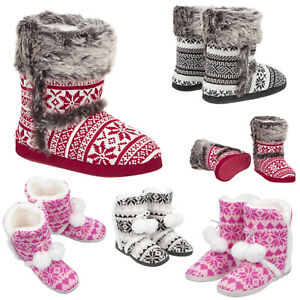 Ladies & Girls Knitted Bootie Warm Slippers Size 3 to 8 UK - XMAS CHRISTMAS GIFT