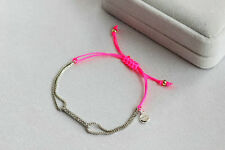 White Gold Pink Color Plated Dot Pave Wishing  Good Luck Rhinestone Bracelet