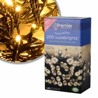 Premier 200 LED Warm White Supabright Multi_action Lights with Green Cable*