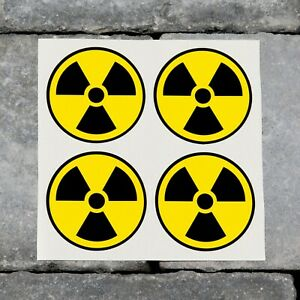 4 x Radioactive Radiation Nuclear Safety Vinyl Stickers - Three Sizes Available