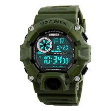 Mens Alarm Date LED Digital Watch 5ATM Waterproof Military Wrist Watches