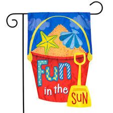 "Fun in the Sun Applique Summer Garden Flag Sand Bucket 12.5""x18"" Briarwood Lane"