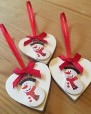 3 X Snowman Christmas Hanging Decorations Country Shabby Chic With Red Bows