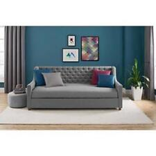 Upholstered Daybed Twin Grey Linen Sofa Bed Tufted Day Bed Gray