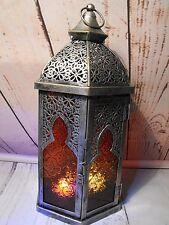 LANTERNA Marocchina portacandele # Metallo Argento Anticato Stile Marocchino Lanterna Nuovo