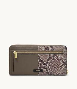 $88.00 Fossil Logan Leather Zip Around Wallet, Taupe Python