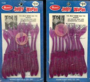 2 Vintage Unopened Packs Mann's The Original Jelly Worm Grape 4 Inch 1973 Winner