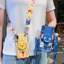 For iPhone 12 11 Pro Max XS 7 8+ Cute Winnie Pooh Stich Strap Stand Case Cover