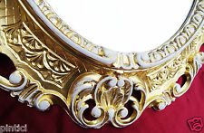 Marco oro-blanco OVAL Retro marco de espejo 45x37 ANTIGUO PICTURE FRAME 3045