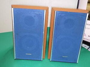 TECHNICS 2 Speakers Brown Beech + Blue Covers 30cm Quality 6ohms 100W SB-HD55A
