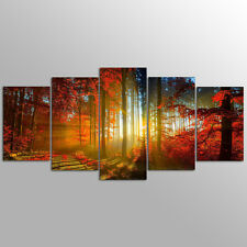 Without Frame Decor Canvas 5 Panels Canvas Prints Red Forest  photo Wall Art