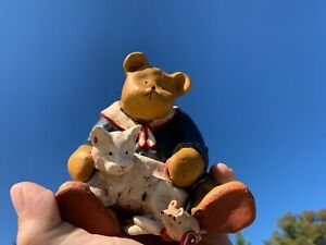 Vintage PADDINGTON BEAR Big Bear & White Cat & Mouse Figurine SWEET LIFE ❤️m9
