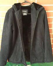 Outbrook Womens Soft Black Jacket Coat Hoodie Faux Fur Lining Sz M 8-10 Zips