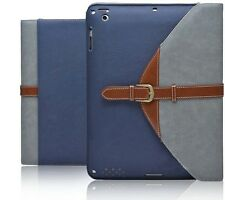 For iPad 3/2/4 Rotating Magnetic Blue Leather Case Smart Cover Wake/Sleep Stand