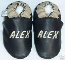 custom made soft soled LEATHER baby booties -robeez with name - leather shoes