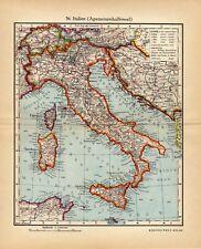 Antique map Italy Sardinia Corsica Apennines 1935 / mappa antica Italia
