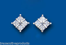 White Gold Earrings Square Stud earrings cubic zirconia
