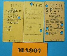 Sweden Railway Tickets x 3 Dated Ref MA907