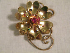 Colorful Rhinestones Wow Stunning Brooch Shiney Gold