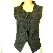Atos Lombardini Top Vest Sleeveless Wool Snap Button Ruched Fitted Italy Gray S