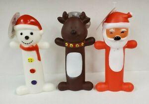 (Set of 3) Squeaking Christmas Dog Toys (Snowman - Reindeer - Santa)
