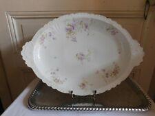 Jean POUYAT porcelaine de Limoges trés grand plat décor floral  1890/1902