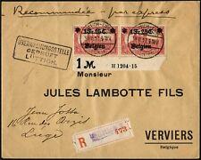 Dt. Besetzung 1. WK Belgien 1917 Express Reko-Brief Paar 8 HAN Lüttich 7 BPP