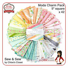 Moda Sew & Sew Charm Pack Quilting Square Fabric retro sewing mod vintage floral
