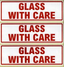 GLASS WITH CARE - WARNING LABELS 152 x 50mm 100 Self Adhesive Labels