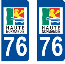 Département 76 sticker 2 autocollants style immatriculation AUTO PLAQUE