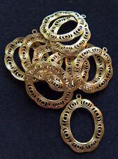 "Filigree Oval Drop / Chandelier Earring Findings - Gold Tone - 1"" - Pack of 12"