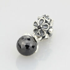 European Pandora Silver Charm golden odyssey, black spinel & grey crystal