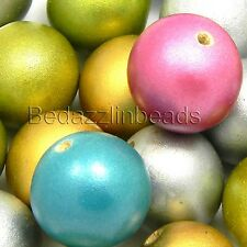 "40 Big Assorted Metallic Colored 20mm 3/4"" Round Loose Wood Beads w/ Large Hole"