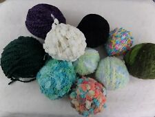 ASSORTED LOT of 10 Partially Used Skeins Of Yarn Solid and Fancy Mixed Fibers