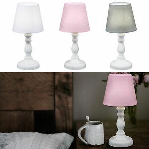 Tischlampe Nachttischlampe H25cm Deko Lampe Retro Stoff Tischleuchte auf Holzfuß