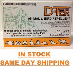 D-TER ANIMAL & BIRD DETERRENT 100g Repels Dogs, Cats, Possums, Birds Rodents