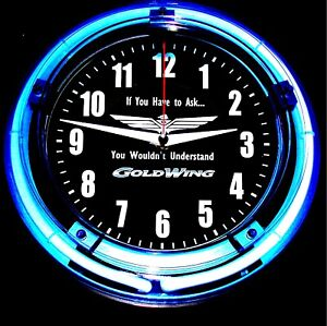 """GOLDWING #1 LOGO - 11"""" Blue Neon Wall Clock"""