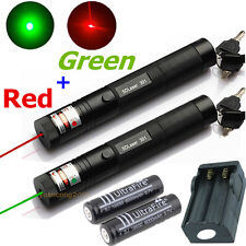 10 miles Military Green + Red 5mw Laser Pointer Pen Light Lazer Beam +2x Battery