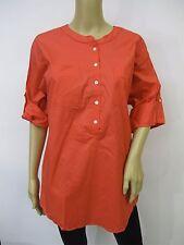 OSO Casuals Coral Roll-Tab Sleeve Stretchy Woven Boyfriend Shirt Plus Sz 3X