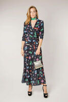 New Rixo London Tori Space Age Floral Dress With Deep V-neck Sz S