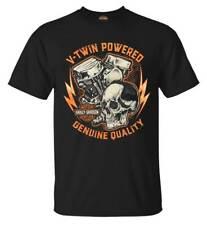 Harley-Davidson Men's V-Twin Skull Short Sleeve Crew-Neck Cotton Tee, Black