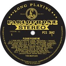 The Beatles. Please Please Me. Gold & Black. Repro record label sticker. 100mm
