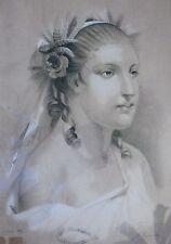 BIZOUERNE, dessin ancien, très beau portrait, second empire, 1860, NAP III .