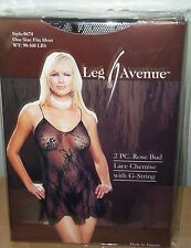 Black/Red 2 PC. Rose Bud Lace Chemise with G-String One Size - Leg Avenue #8674