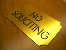 NO SOLICITING 3x5 Engraved Sign | Plaque w/ Adhesive-Backing | Home Office Biz