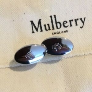 NEW IN BOX MENS MULBERRY CUFFLINKS OVAL REVERSIBLE SILVER  QC1312/160D130
