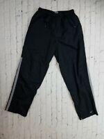 VTG 90s Nike Nylon Track Pants Black White Side Stripes - Men's Small Travis