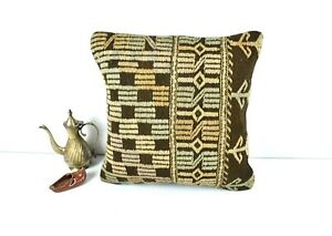 Handmade Kilim Pillow Cover 16x16 Bohemian Home Decorative Wool Cushion 2839