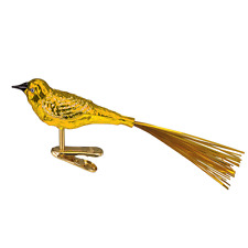 OLD WORLD CHRISTMAS YELLOW LOVEBIRD w/TINSEL TAIL CLIP-ON GLASS ORNAMENT 18024